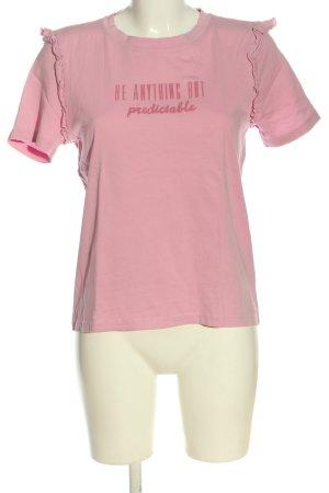 Only T-Shirt pink Schriftzug gedruckt Casual-Look