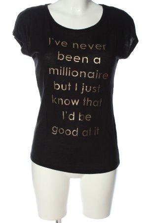Only T-Shirt schwarz Schriftzug gedruckt Casual-Look