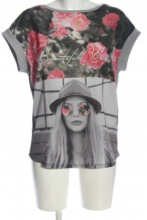 Only T-Shirt hellgrau-pink Blumenmuster Casual-Look