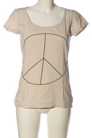 Only T-Shirt creme-schwarz Motivdruck Casual-Look