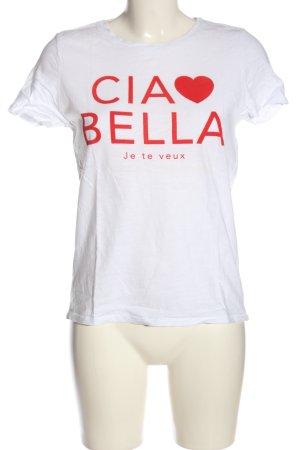 Only T-Shirt weiß-rot Schriftzug gedruckt Casual-Look
