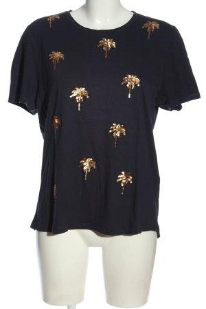 Only T-Shirt schwarz-goldfarben Motivdruck Casual-Look