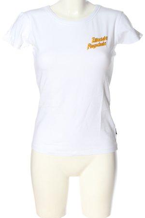 Only T-shirt blanc-orange clair imprimé avec thème style décontracté