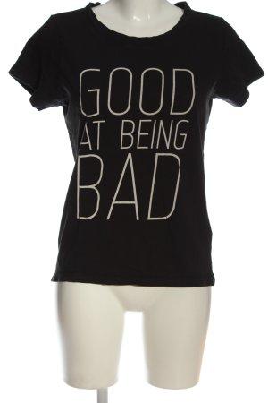 Only T-Shirt schwarz-wollweiß Schriftzug gedruckt Casual-Look