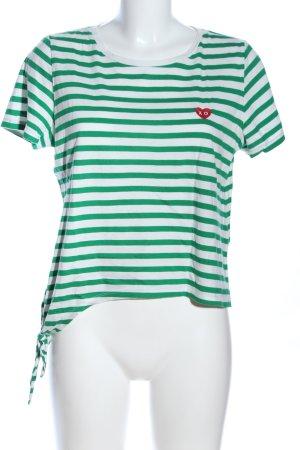 Only T-Shirt weiß-grün Streifenmuster Casual-Look