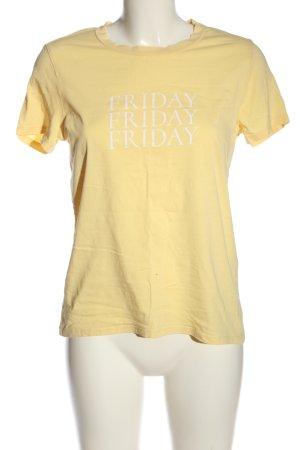 Only T-Shirt blassgelb-weiß Motivdruck Casual-Look