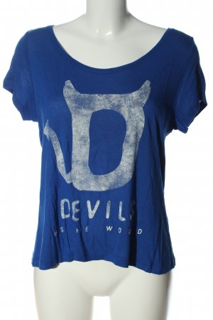 Only T-Shirt blau-weiß Motivdruck Casual-Look