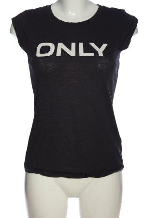 Only T-Shirt schwarz-weiß Schriftzug gedruckt Casual-Look