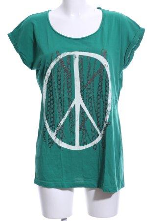 Only T-Shirt grün-weiß Motivdruck Casual-Look