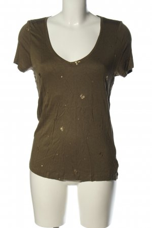 Only T-Shirt braun-goldfarben Allover-Druck Casual-Look