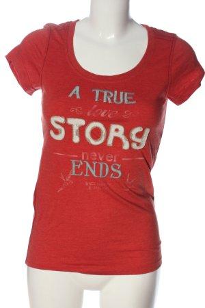 Only T-Shirt rot Schriftzug gedruckt Casual-Look