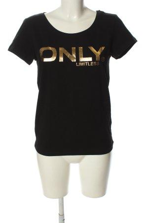 Only T-shirt czarny-złoto Wydrukowane logo W stylu casual