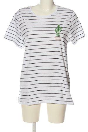 Only T-shirt blanc-noir imprimé allover style décontracté