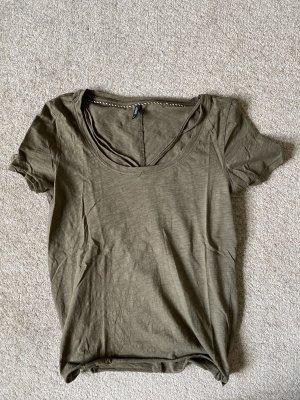 Only T-shirt khaki mit details