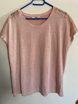 Only T-Shirt rosa pink Spitze weich Baumwolle 42 XL Neu
