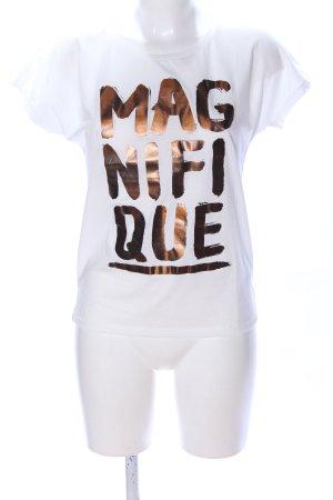 Only T-Shirt weiß-bronzefarben Schriftzug gedruckt Casual-Look