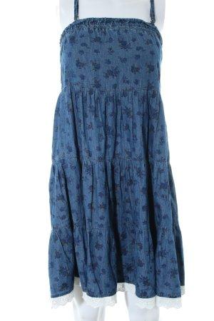 Only Trägerkleid blau Allover-Druck Casual-Look