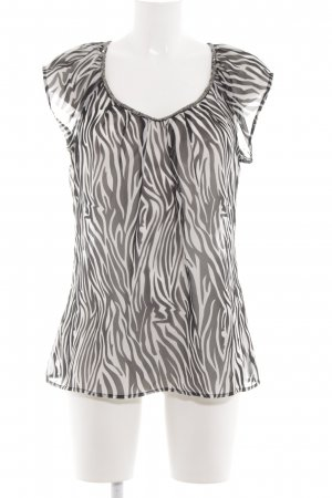 Only Transparenz-Bluse weiß-schwarz Animalmuster Casual-Look