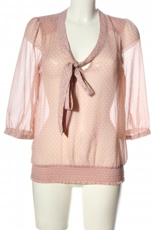 Only Transparenz-Bluse pink-weiß Punktemuster Casual-Look