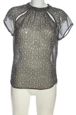 Only Transparenz-Bluse weiß-schwarz abstraktes Muster Casual-Look