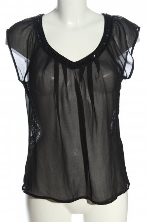 Only Transparenz-Bluse schwarz Webmuster Casual-Look