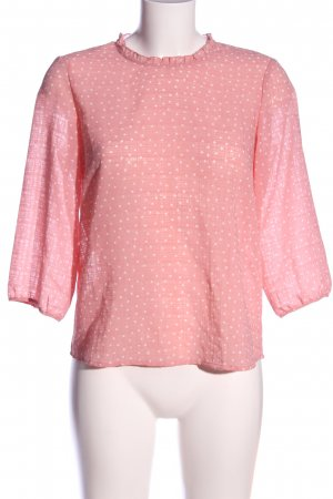 Only Transparenz-Bluse pink-weiß Allover-Druck Casual-Look