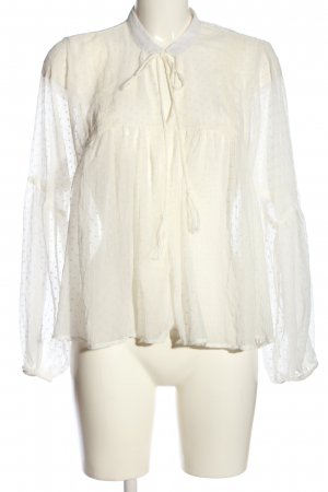 Only Transparenz-Bluse weiß Punktemuster Casual-Look