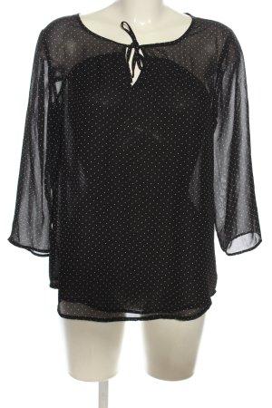 Only Transparenz-Bluse schwarz-weiß Punktemuster Elegant