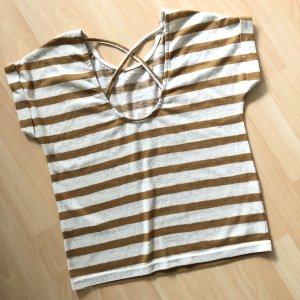 Only TShirt Gr S ockergelb Senf beige gestreift rückenausschnitt Strick Shirt kurzarm