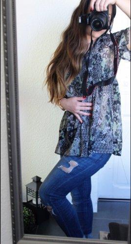 ONLY Tunika Hemd Bluse transparent Blumenprint Gr S