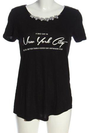 Only U-Boot-Shirt schwarz-weiß Schriftzug gedruckt Casual-Look