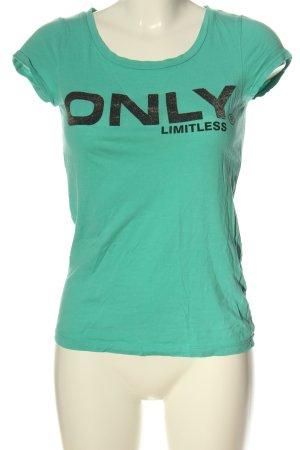 Only U-Boot-Shirt türkis-schwarz Motivdruck Casual-Look