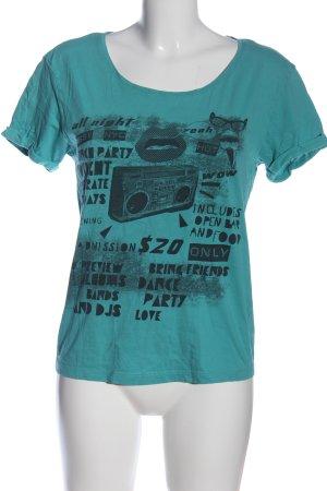 Only U-Boot-Shirt türkis Schriftzug gedruckt Casual-Look