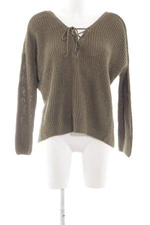 Only V-Ausschnitt-Pullover khaki Zopfmuster Casual-Look