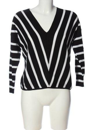 Only V-Ausschnitt-Pullover schwarz-weiß Allover-Druck Casual-Look