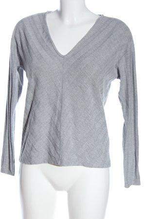 Only V-Ausschnitt-Pullover hellgrau Streifenmuster Elegant