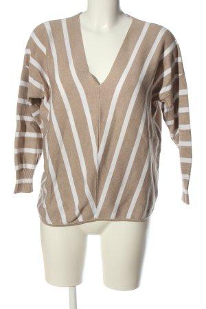 Only V-Ausschnitt-Pullover wollweiß-weiß Streifenmuster Casual-Look