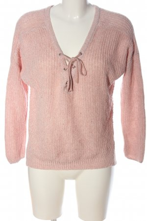 Only V-Neck Sweater pink cable stitch casual look