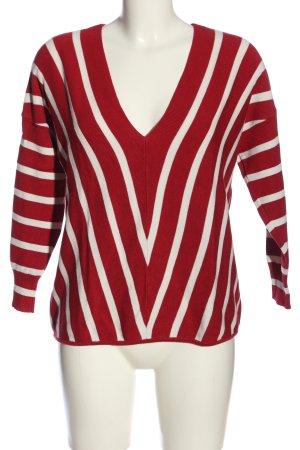 Only V-Ausschnitt-Pullover rot-weiß Allover-Druck Casual-Look