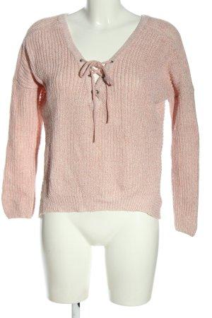 Only V-Ausschnitt-Pullover pink meliert Casual-Look