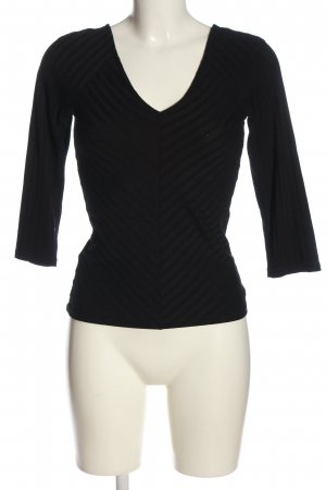 Only V-Ausschnitt-Pullover schwarz Streifenmuster Casual-Look