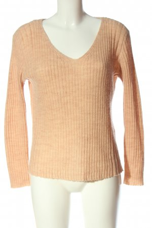Only V-Ausschnitt-Pullover nude Zopfmuster Casual-Look