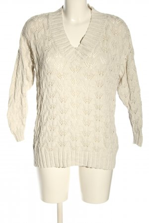 Only V-Ausschnitt-Pullover wollweiß Zopfmuster Casual-Look