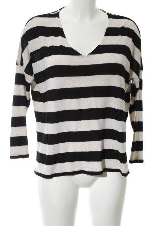 Only V-Ausschnitt-Pullover schwarz-wollweiß Streifenmuster Casual-Look