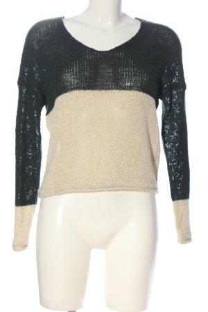 Only V-Ausschnitt-Pullover schwarz-wollweiß Webmuster Casual-Look
