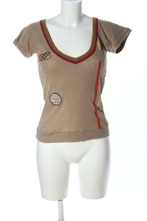 Only T-shirt col en V imprimé avec thème style décontracté