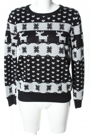 Only Christmasjumper black-white abstract pattern casual look