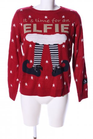 Only Weihnachtspullover rot-weiß Allover-Druck Casual-Look