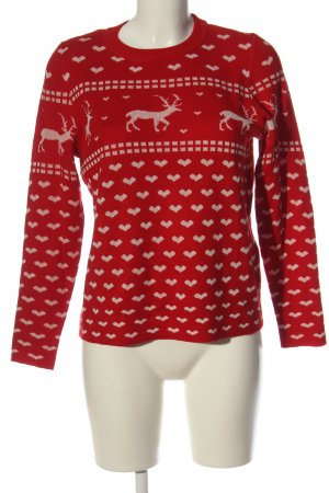 Only Christmasjumper red-natural white allover print casual look