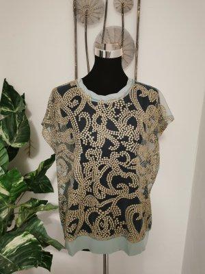 Ono Koon Designer Damen Tunikashirt Tunika blau gold Größe 40